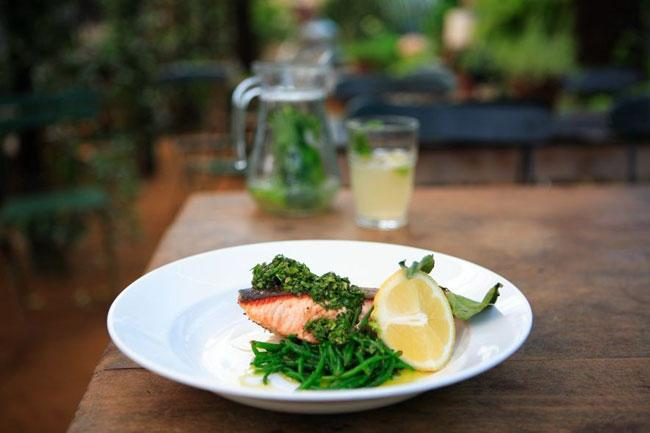 Pan fried wild salmon with salsa verde