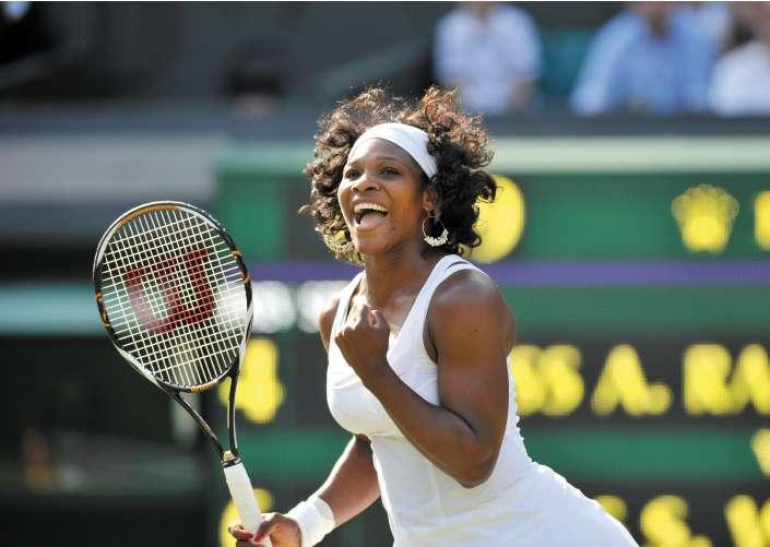 Serena Williams celebrates her crushing 6-4, 6-0 quarter-final victory over Poland's Agnieszka Radwanska yesterday