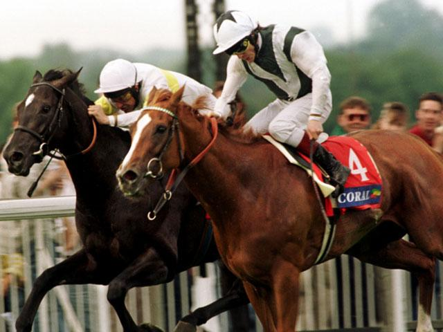Bosra Sham and Kieren Fallon (right) get in a tangle in the 1997 Eclipse Stakes won by Pilsudski