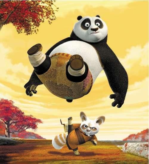 The giant panda Po, voiced by Jack Black, and Master Shifu, voiced by Dustin Hoffman, in Kung Fu Panda