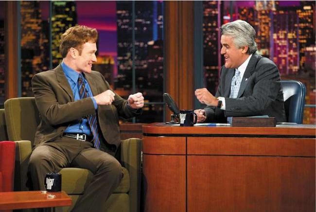Battle lines: Jay Leno, right, and his 'successor', Conan O'Brien