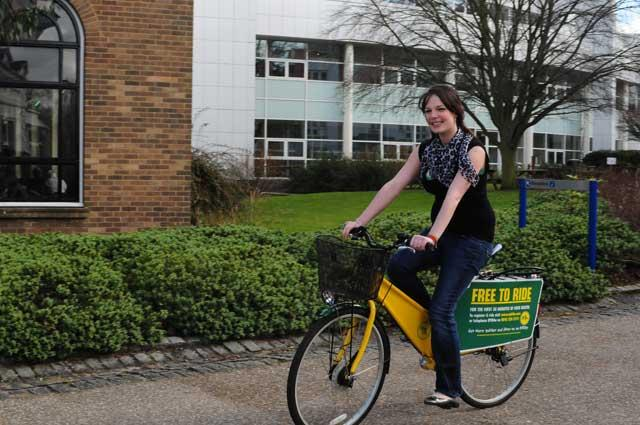 Freewheeling is part of Gloucestershire University's environmental policy, which has earnt it a 'First' rating in the table