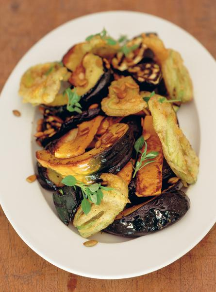 Antipasto of summer squashes and courgettes