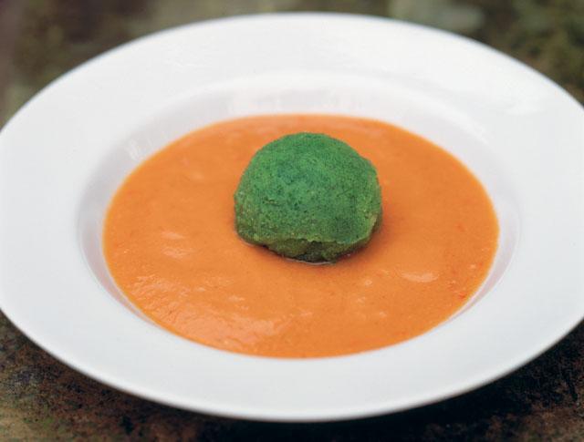 Gazpacho with cucumber sorbet