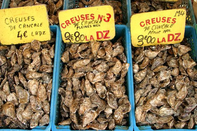 Oysters for sale in Cancale, Brittany. Warmer seas may be to blame for the crisis