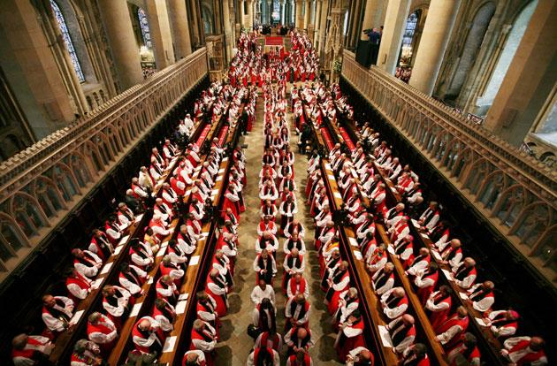 Anglican bishops from around the world leave Canterbury Cathedral yesterday after a service to mark the opening of the Lambeth Conference. The service came after a three-day retreat for the bishops