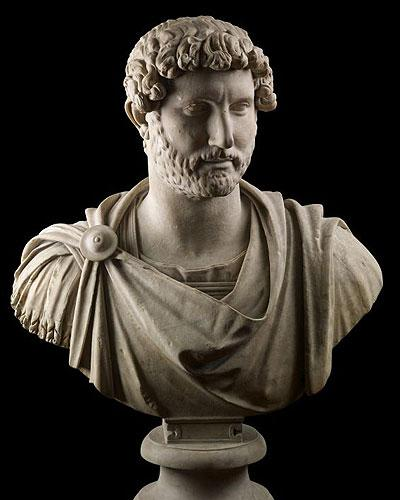 A marble bust of Hadrian in military dress
