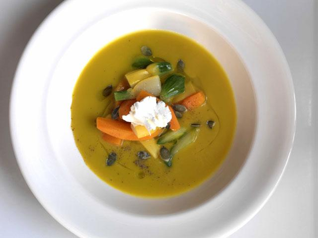 Summer squash soup with goat's curd