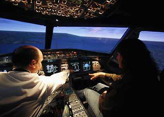 Flight without fear:  simulators are used to get people used to flight noises and motion
