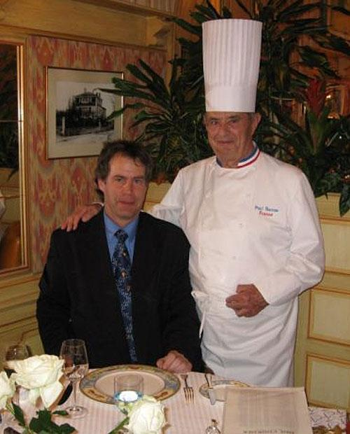 Pascal Henry with the French chef Paul Bocuse on the night he began his Michelin world tour