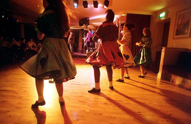 The Butlins Redcoats, a comedy and entertainment training ground for many stars, performing at Butlins Hotel, London, in the 1990s