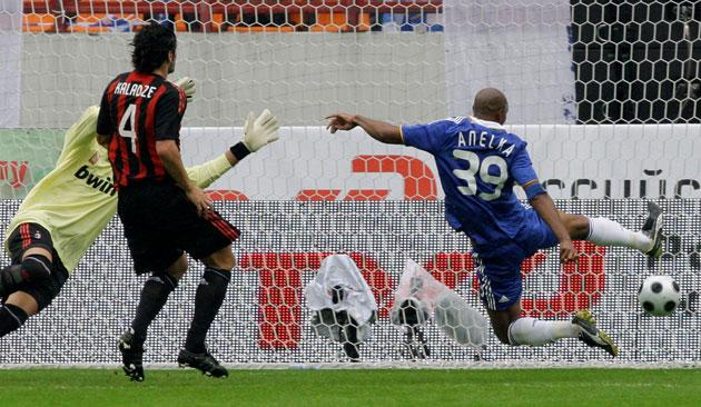 Nicolas Anelka volleys homes his fourth goal during Chelsea's 5-0 victory over Milan in the Railways Cup yesterday