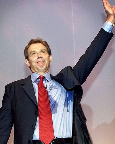 Tony Blair perspires at the Labour conference in 2001