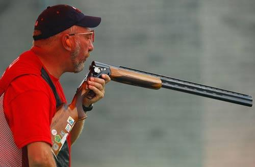 Bret Erickson of the US competes in the men's trap in Beijing yesterday