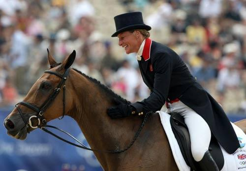 Britain's Mary King riding Call Again Cavalier, after her dressage display in Hong Kong