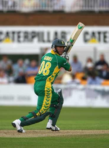 South Africa's Herschelle Gibbs strokes the ball to the off side on his way to 81 at Grace Road yesterday