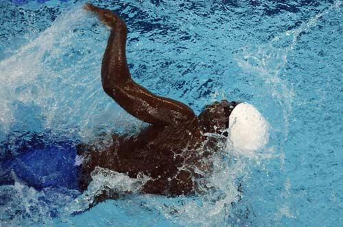 Kempompo Ngangola in the pool yesterday