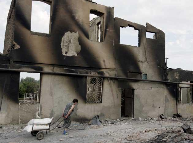 A scene of devastation at Tskhinvali in the Georgian breakaway province of South Ossetia. Refugees have left the province for the capital, Tblisi