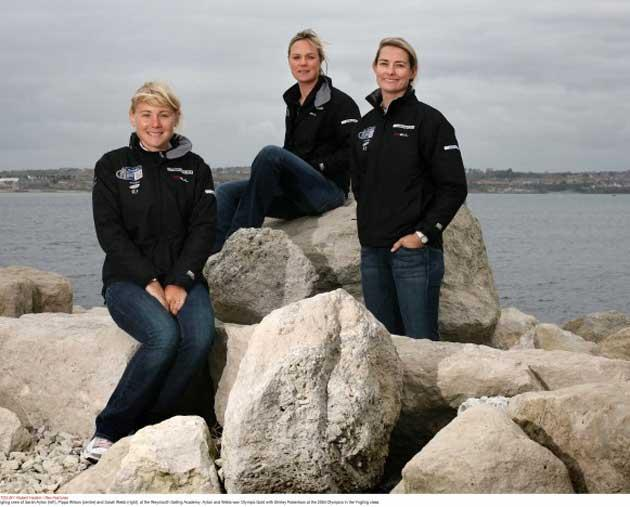 The Olympic gold Yngling crew, from left, Sarah Ayton, Pippa Wilson and Sarah Webb
