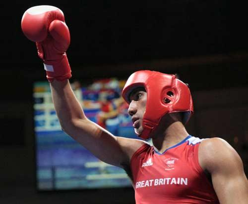 James Degale celebrates his victory over US boxer Shawn Estrada