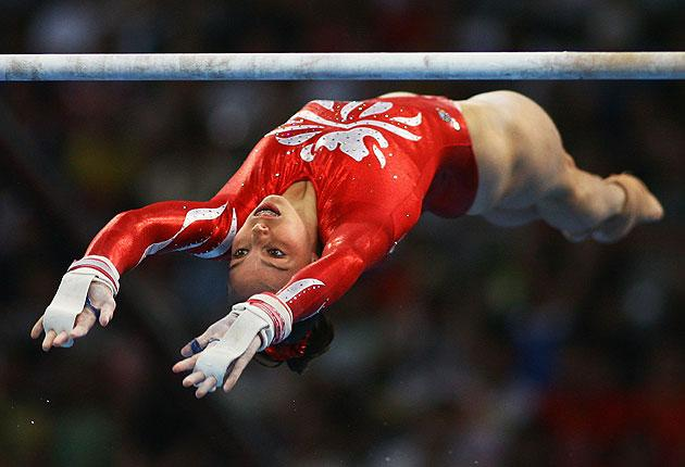 Beth Tweddle of Great Britain competes in the women's uneven bars final during the artistic gymnastics at the National Indoor Stadium event on Day 10 of the Beijing 2008 Olympic Games on August 18, 2008 in Beijing.