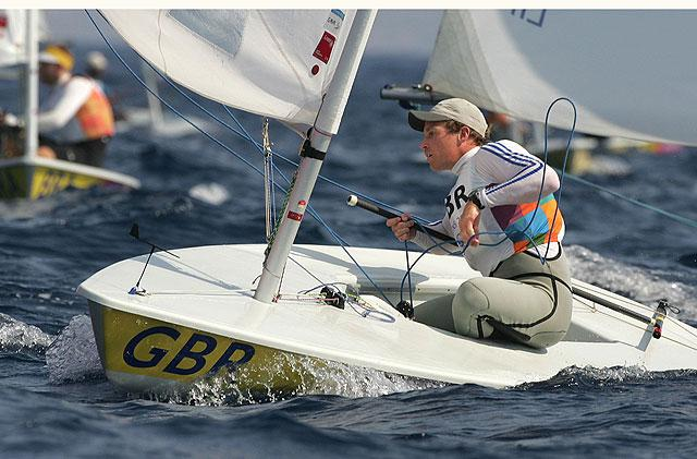 Britain's Paul Goodison sailing to victory in the Laser dinghy