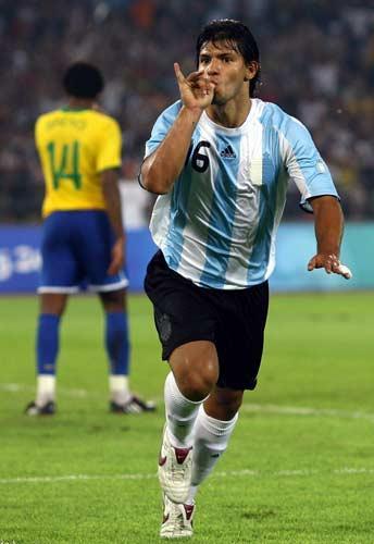 Sergio Aguero of Argentina celebrates scoring against Brazil