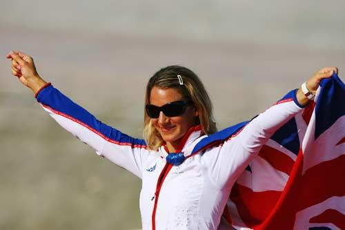 Bryony Shaw steps up to collect her bronze medal