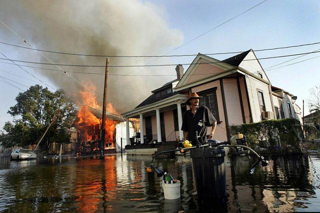 A man in the devastation produced by the hurricane in New Orleans