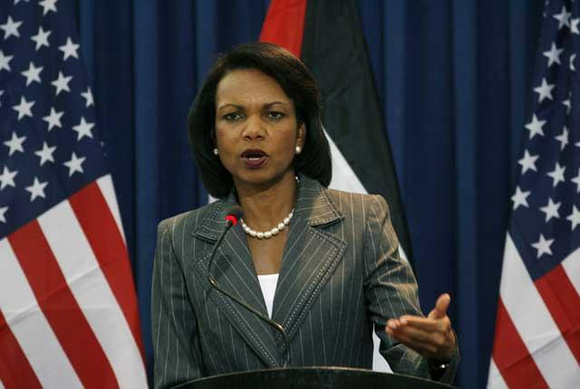 """Condoleezza  Rice maintained that the the two sides were """"somewhat closer"""" in their secret talks"""