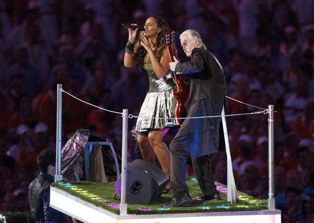 Best of British: Leona Lewis and Jimmy Page perform at the Closing Ceremony