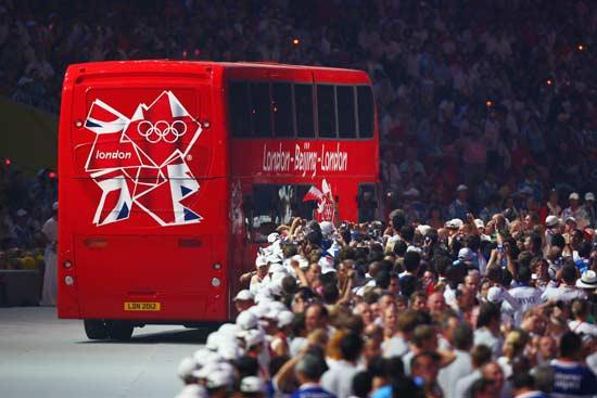 London's segment of the closing ceremony included a red bus