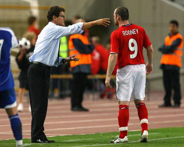 Fabio Capello gives instructions to Wayne Rooney during England's 2-0 win against Andorra in Barcelona on Saturday