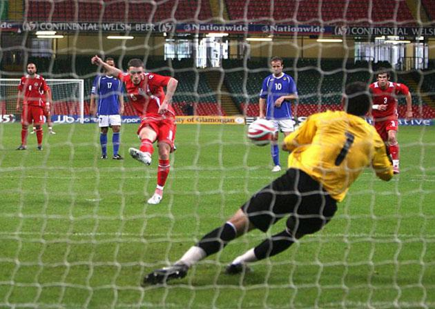 The midfielder Jason Koumas has his penalty saved by Azerbaijan's goalkeeper Kamran Arhayev during Wales' 1-0 win in the opening game of their World Cup qualifying campaign at the Millennium Stadium in Cardiff on Saturday
