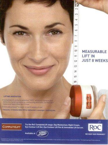 The Johnson & Johnson ad for RoC Complete Lift which claims to give a 'measurable' lift to women's skin