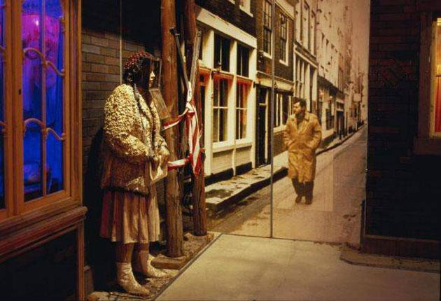 'Hoerengracht' (detail of street corner with photo montage and mannequin), 1984-88 by Ed and Nancy Kienholz, which is to be installed in the heart of the National Gallery