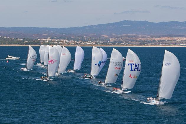 The TP52 fleet lines up to solute the 2008 Audi MedCup winner, Quantum, off Portugal