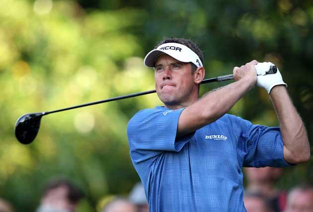 Lee Westwood drives at the 11th during round three of the British Masters
