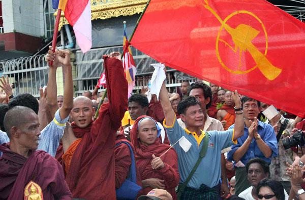 Supporters joined monks in anti-government protests last year in Burma which was referred to as the 'Saffron Revolution'