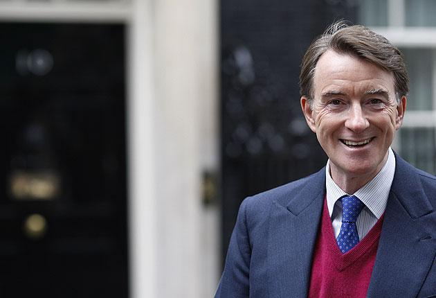 Peter Mandelson speaks to journalists in Downing Street after the announcement of his new Cabinet role