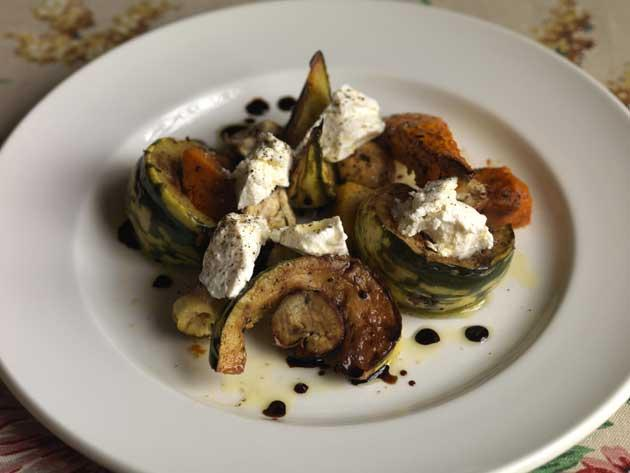 Roasted autumn squash with buffalo ricotta, chestnuts and vincotto