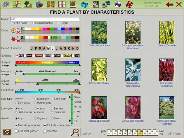 A screenshot from the interactive Plant Finder & Pruning Guide from Complete Gardens
