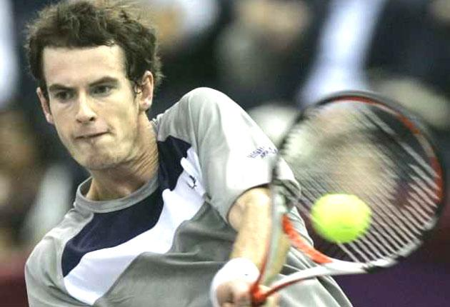 Andy Murray returns during his win in St Petersburg yesterday