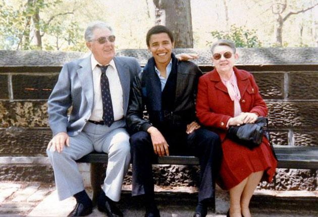 Barack Obama with his late grandmother, Madelyn Payne Dunham, who died yesterday aged 86, and his grandfather, Stanley Dunham