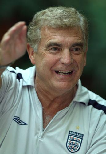 Sir Trevor Brooking answers questions during an England U19 press conference