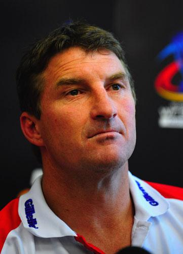 Tony Smith at a press conference. The England coach has announced the squad for the World Cup pool match against New Zealand