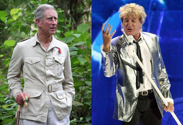 Rod Stewart, right, has waived his £1m  fee to sing for Prince Charles