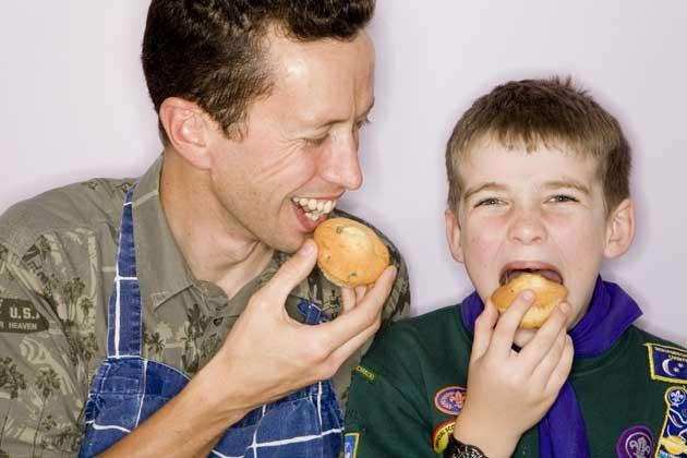 Like hot cakes: Barley used his marketing skills to sell muffins for his son Christian's scouts' group
