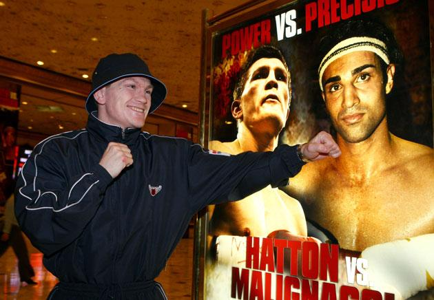 Ricky Hatton posing with the fight poster prior to his fight against Paulie Malignaggi at the MGM Grand Hotel and Casino in 2008