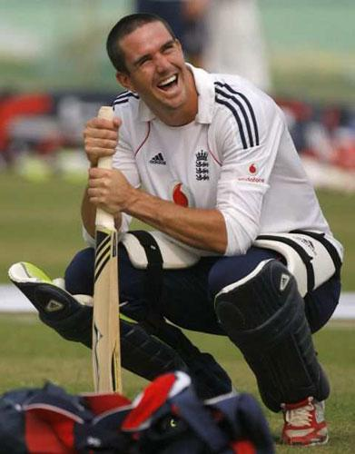 Kevin Pietersen, the England captain, trains in Kanpur yesterday ahead of the one-dayer against India